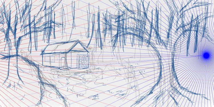 blue drawings and perspective